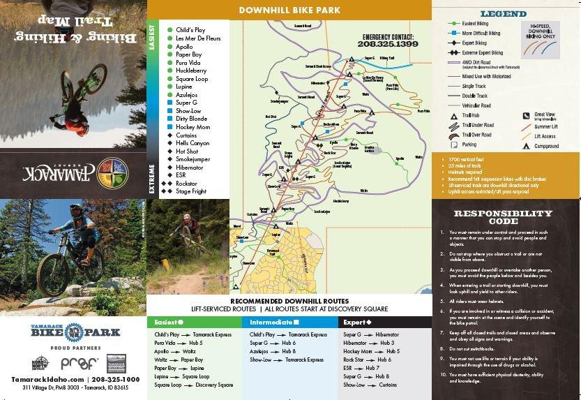 Downhill Mountain biking trail Map