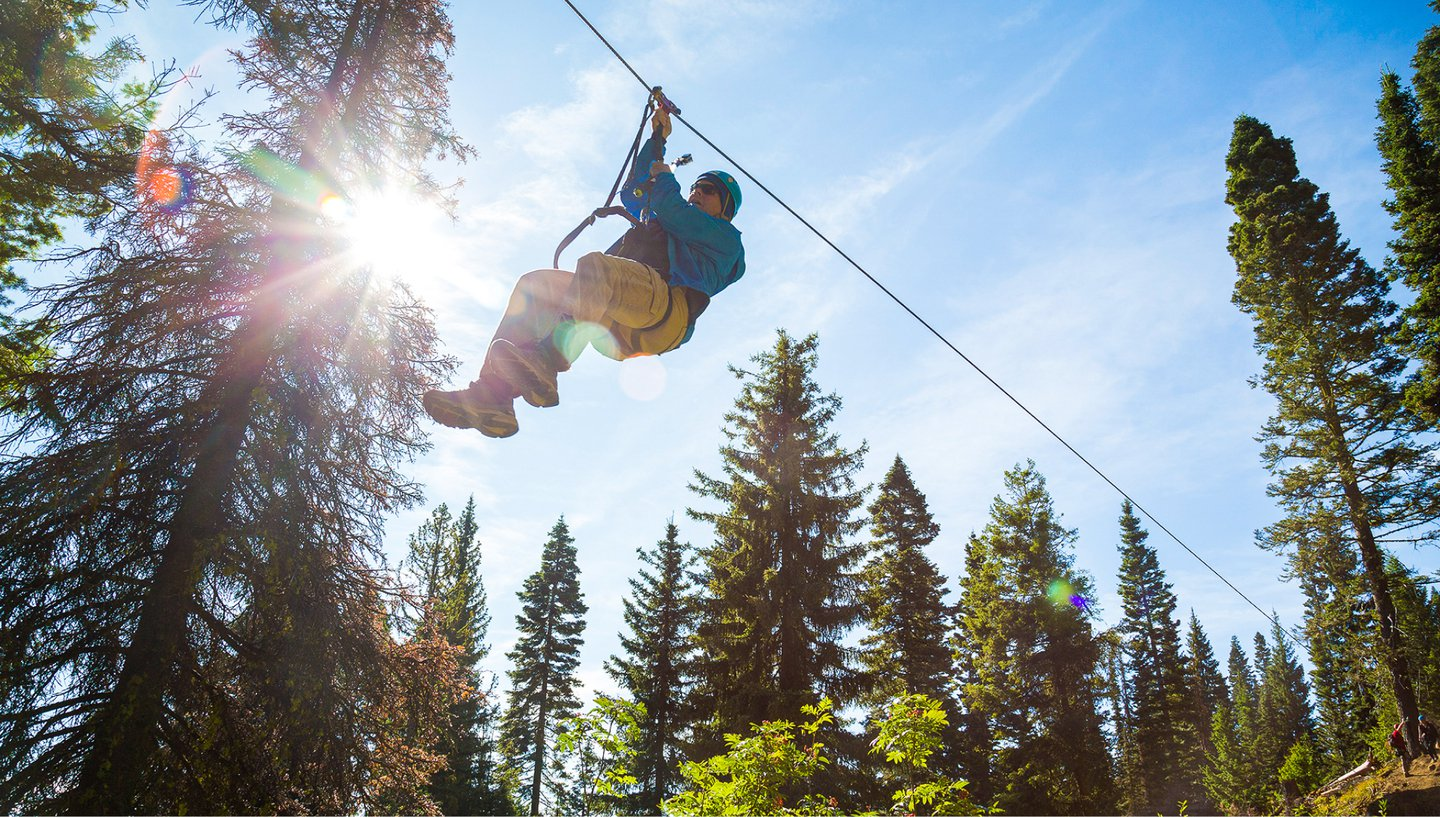 Zipline through the trees at Tamarack